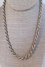 """Sterling silver twisted link rope chain necklace 18.25"""" long 25.3 gr not scrap"""