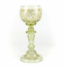 Bohemian Light Green Art Glass Goblet, c1900 Raised Gilt & White Enamel Floral