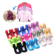 10x Home Mini Flocking Clothes Hanger Conector Hook Closet Organizer SAVE SPACE