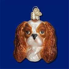 BROWN & WHITE KING CHARLES SPANIEL HEAD OLD WORLD CHRISTMAS GLASS ORNAMENT 12394