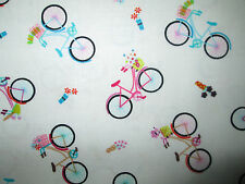SMALL BIKE BICYCLE FLOWERS PARIS COTTON FABRIC FQ