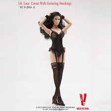 VERYCOOL VCF2016 Black Lace Corset with Gartering stockings 1/6 Scale FIGURE