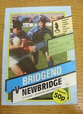 22/02/1992 Rugby Union Programme: Bridgend v Newbridge [Schweppes Cup] (slight c