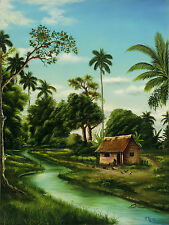 "CUBAN ART #107**OSBALDO** CASA JUNTO AL RIO 18X24"" SIGNED ON CANVAS"
