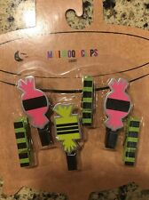 Halloween Candy Green Stripped Wood Clips Picture Clothes Set 6 CANDY ORNAMENTS