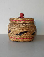 Makah Indian Basket Northwest Cedar Grass Pink Purple Knob Lid