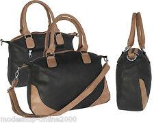 Tasche Damentasche Handtasche Schultertasche Anthrazit-Braun in Lederoptik NEU