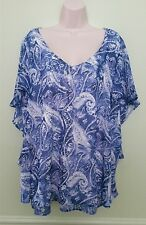 NY Collection Women's Blue Paisley Print Cape-Sleeve Mesh Blouse Top Plus 3X $49