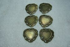 6 lightweight thin Antique Bronze heart metal setting blanks filigree stampings