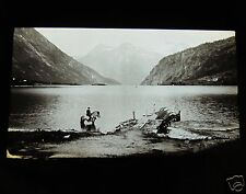 Glass Magic lantern slide UNKNOWN LOCATION 11 NORWAY - MAN ON HORSE IN FJORD