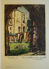 Affiche ancienne de 1933 entoilée - Abbayie de ST VANDRILLE - Normandie