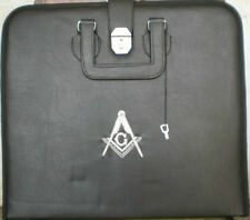 HAND EMBROIDED MASONIC CUSTOM, BLACK M.M. APRON CASE SILVER