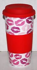 Lipstick Lip Mouth Print Travel Mug Tumbler Ceramic Rubber Lid & Grip Pink Red