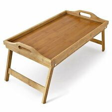 Folding Bed Tray Bamboo Wooden Breakfast Dinner In Bed Serving Lap 50 x 30cm NEW