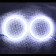 1Pair White 90MM COB LED Angel Eyes Headlight Halo Ring Warning Lamps with Cover