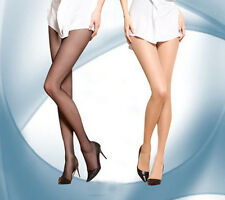 2x Fashion 2Den Invisible T-band Sheer To Waist Pantyhose Seamless black & Beige