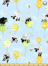 Susybee LEWE BALLOON on Blue / Sheep Quilt Fabric ~ sold by the 1/2 yard