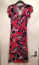 BNWT Stunning Ladies H&M Red Multi Wrap Dress-Size UK 10,EUR 36,US 6 RRP £24.99