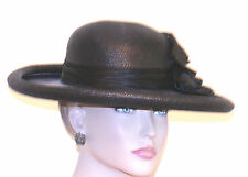 vintage WOMANS LADIES HAT BLACK ROLLED UP WIDE BRIM SILK FLOWER TULLE SATIN BAND