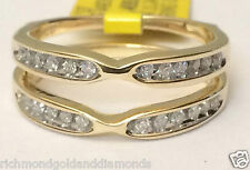 Solitaire Enhancer Diamonds Ring Guard Jacket Wrap 14k Yellow Gold Wedding Band