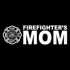 Firefighter's Mom Maltese Cross White Non-Reflective Window Decal Sticker