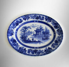 Doulton flow blue platter with oriental scene - Madras pattern FREE SHIPPING