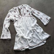 New Bohemian Diamond Embroidered White Festival Tunic Indie Top Small