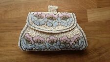 Vintage Seed Pearl Small Clutch Bag / Evening Purse.Cream,Pink&Blue.