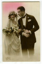 1920s French Deco Fashion Flapper BRIDE BEAUTY Lady glamour photo postcard
