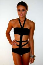 New Luxe Lane Tahiti Black Bandage Bikini Monokini Swimsuit UK Large 12-14 AX68