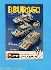 TOP989-PUBBLICITA'/ADVERTISING-1989- BURAGO ITALIA '90- METAL MODELS 1/43
