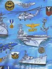 US Navy Ships Military Sailors Blue Novelty Quilt Fabric Fat Quarters FQ FQs