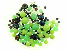 Vintage German Mix Green Round Bicone Textured Smooth Assorted Lucite Bead Lot