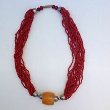 Beautiful Vintage Handmade Beaded Coral Amber Pendant Necklace