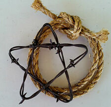 "Rusty Barbed Wire 5"" Star and Rope (Lariat) Rustic Western Farm Ranch Wall Decor"