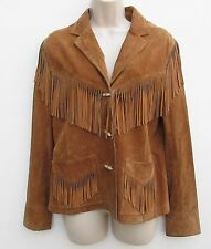 Lauren Ralph Lauren Suede Leather Fringe Jacket Coat Western Hippie Womens M