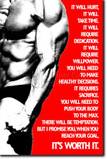 IT WILL HURT - MOTIVATIONAL BODYBUILDING POSTER 13 - QUOTE PHOTO PRINT GIFT