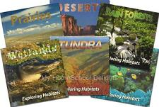 NEW Exploring Habitats SET of 6 Rain Forest Coral Reef Tundra Desert Prairie HC