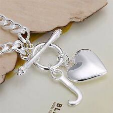 Womens 925 Sterling Silver Love Heart Charm Bracelet Toggle Clasp Gift Pouch