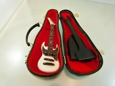 Vintage Miniature Guitar in Black Case Electric Model with stand unbranded