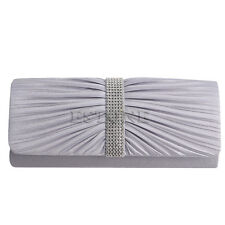 Elegant Satin Diamante Pleated Evening Clutch Bag Bridal Handbag Prom Purse