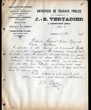 """COMMENTRY (03) MATERIAUX de CONSTRUCTION """"J.B. VERTADIER"""" en 1907"""