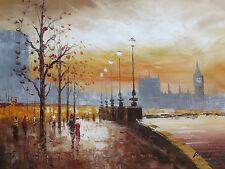 Dipinto Quadro Londra Piovosa Grande Olio Su Tela Contemporaneo Città Inglese