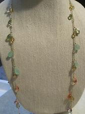 NWT Very Pretty Carolee Pastel Color Scatter Necklace-Gold Tone