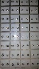 Joblot of 36 Pairs clear round 4mm&5mm Crystal stud Earrings - New wholesale