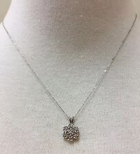 SOLID 14KT WHITE GOLD NECKLACE WITH DIAMOND FLOWER PENDANT