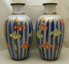 Pair Japanese Tall Porcelain FUKAGAWA Vases / Lamps w/ Irises, signed