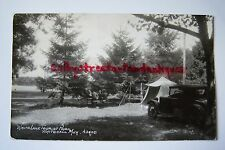 WHITE LAKE TOURIST PARK Whitehall, Michigan RPPC postcard 1934 vintage car, tent
