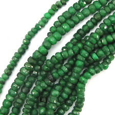 "4mm faceted genuine green emerald rondelle beads 14"" strand"