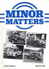 """MORRIS MINOR OWNERS CLUB MAGAZINE - """"MINOR MATTERS""""   (May/Junel 1992))"""